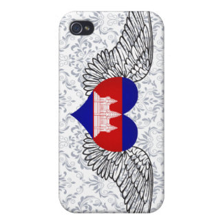 I Love Cambodia -wings Cover For iPhone 4
