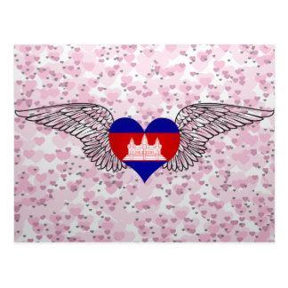 I Love Cambodia -wings Postcard