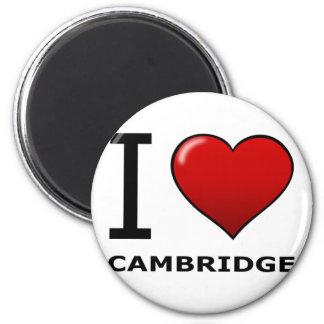 I LOVE CAMBRIDGE, MA - MASSACHUSETTS 2 INCH ROUND MAGNET