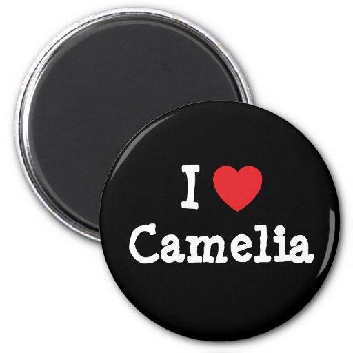 I love Camelia heart T-Shirt Magnets