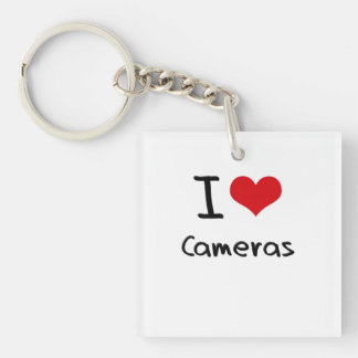 I love Cameras Double-Sided Square Acrylic Keychain
