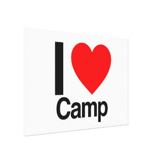 i love camp stretched canvas prints