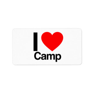 i love camp label