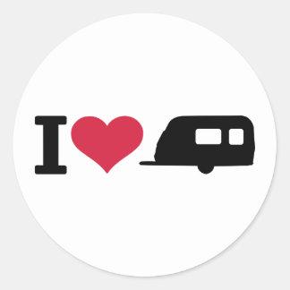I love camping - caravan round sticker