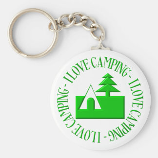 I love camping basic round button keychain