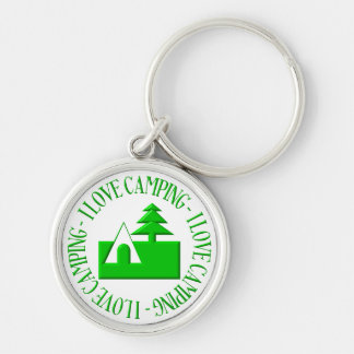 I love camping Silver-Colored round keychain