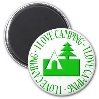 I love camping 2 inch round magnet