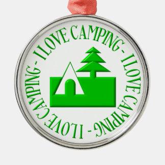 I love camping metal ornament
