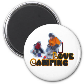 I Love Camping Morning Brew 2 Inch Round Magnet