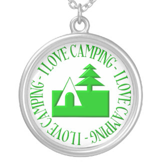 I love camping round pendant necklace