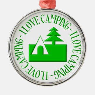 I love camping round metal christmas ornament