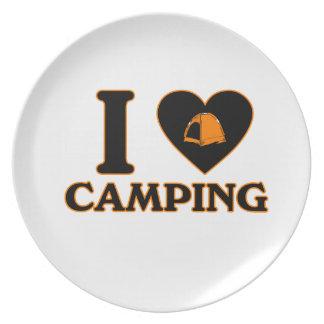 I Love Camping Dinner Plates