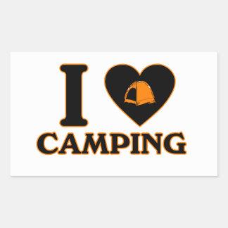 I Love Camping Rectangular Sticker