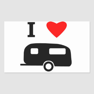 I Love Camping Rectangle Stickers