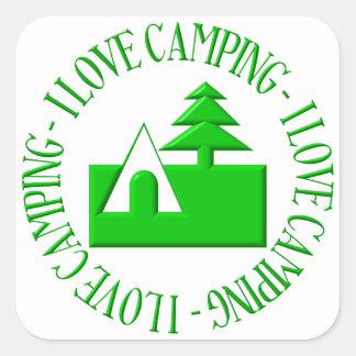 I love camping square sticker