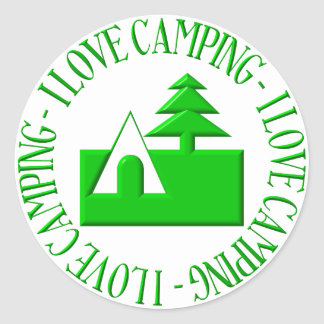 I love camping classic round sticker