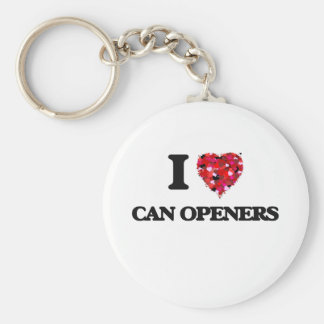 I love Can Openers Basic Round Button Keychain