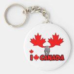 I love Canada Basic Round Button Keychain