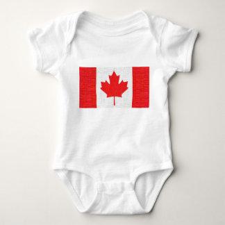 I love Canada! Canadian Flag Stitch Look Design Baby Bodysuit