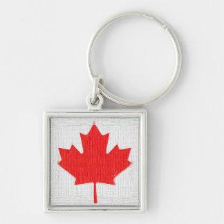 I love Canada! Canadian Flag Stitch Look Design Keychain