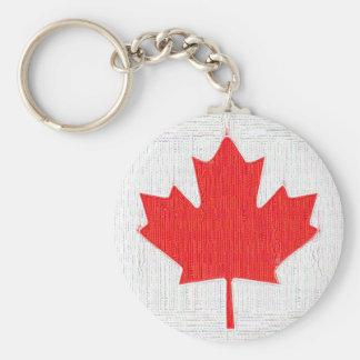 I love Canada! Canadian Flag Stitch Look Design Key Chain