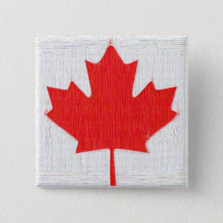 I love Canada! Canadian Flag Stitch Look Design Pinback Button