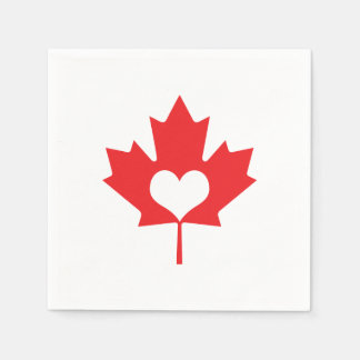 I Love Canada - Canadian Pride Maple Leaf Heart Paper Napkin