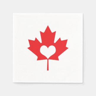 I Love Canada - Canadian Pride Maple Leaf Heart Paper Napkin