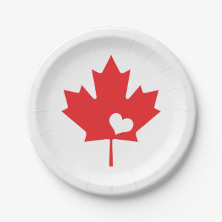 I Love Canada - Canadian Pride Maple Leaf Heart 7 Inch Paper Plate
