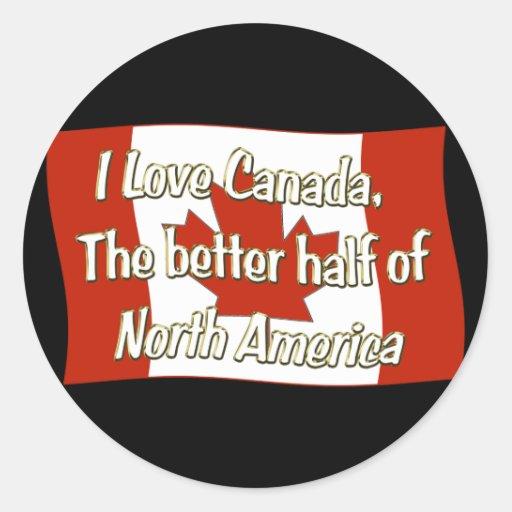 I Love Canada Classic Round Sticker
