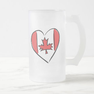 I Love Canada Frosted Glass Beer Mug