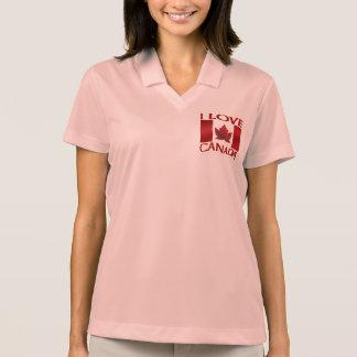 I Love Canada Golf Shirt Women's Canada Polo Shirt