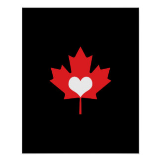 I Love Canada Heart and Maple Leaf Poster