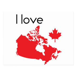I love Canada Map Postcard