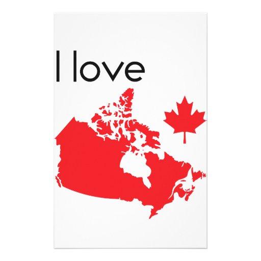 I love Canada Map Stationery
