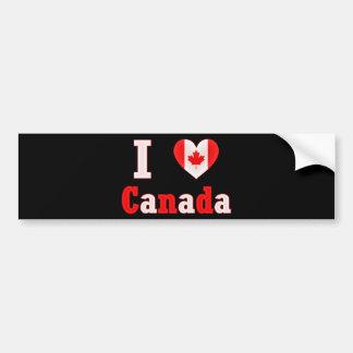 I Love Canada Maple Leaf Heart Bumper Sticker