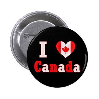 I Love Canada Maple Leaf Heart Pinback Button