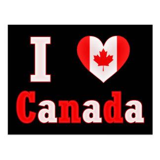 I Love Canada Maple Leaf Heart Postcard