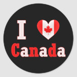 I Love Canada Maple Leaf Heart Round Stickers