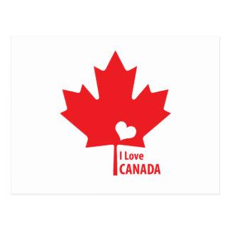 I love Canada Maple Leaf Postcard