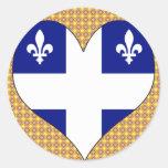 I Love Canada Quebec Round Stickers