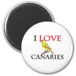 I Love Canaries 2 Inch Round Magnet