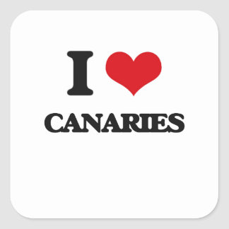 I love Canaries Square Stickers