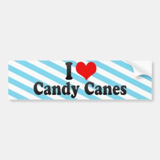 I Love Candy Canes Car Bumper Sticker