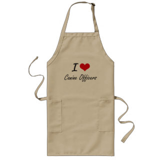 I love Canine Officers Artistic Design Long Apron