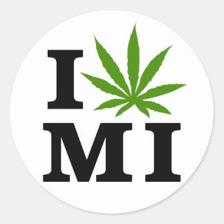 I Love Cannabis Marijuana Michigan Classic Round Sticker