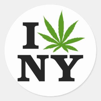 I Love Cannabis Marijuana New York Classic Round Sticker