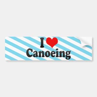 I Love Canoeing Car Bumper Sticker