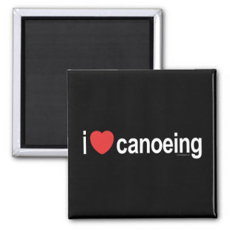 I Love Canoeing 2 Inch Square Magnet