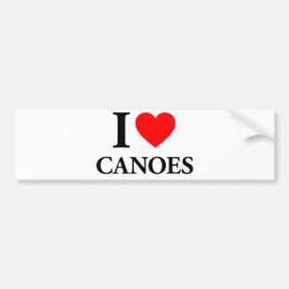 I Love Canoes Car Bumper Sticker